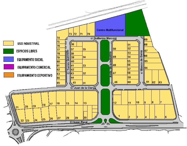 Plano Parcelario del Parque Industrial Solucar